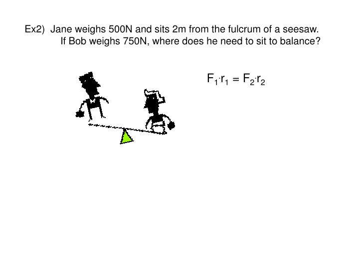 Ex2)  Jane weighs 500N and sits 2m from the fulcrum of a seesaw.