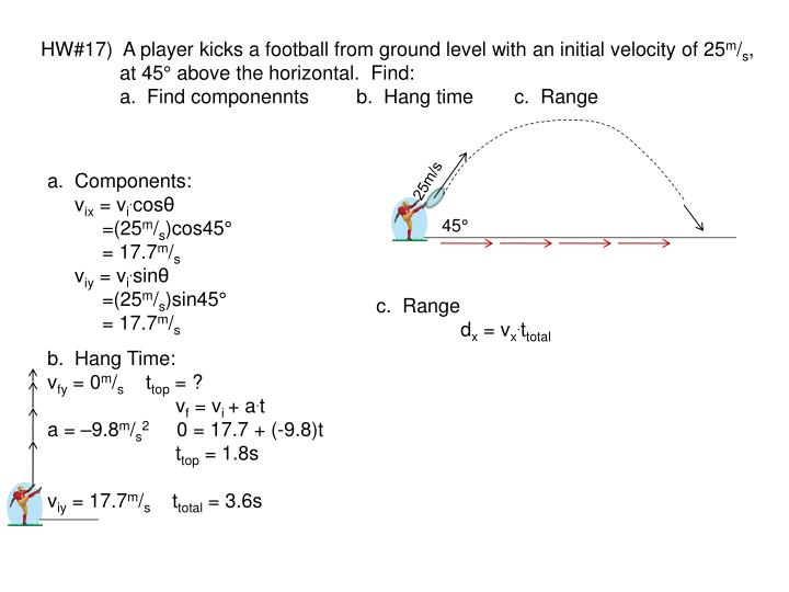 HW#17)  A player kicks a football from ground level with an initial velocity of 25