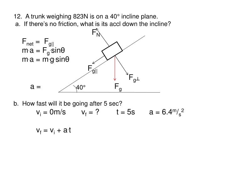 12.  A trunk weighing 823N is on a 40° incline plane.