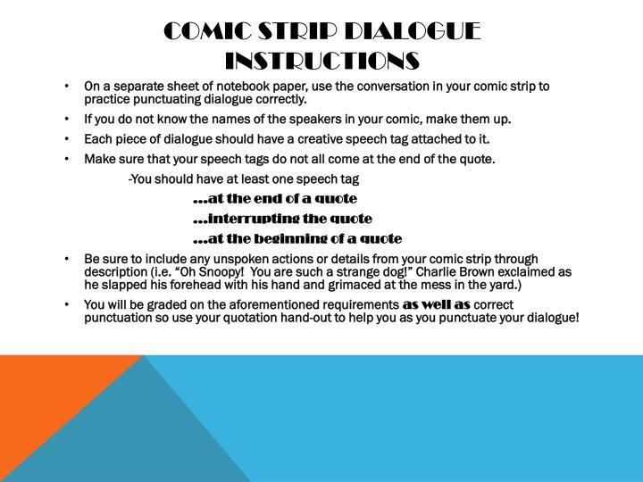Comic strip dialogue instructions