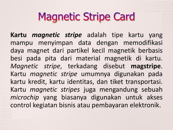 Magnetic stripe card1