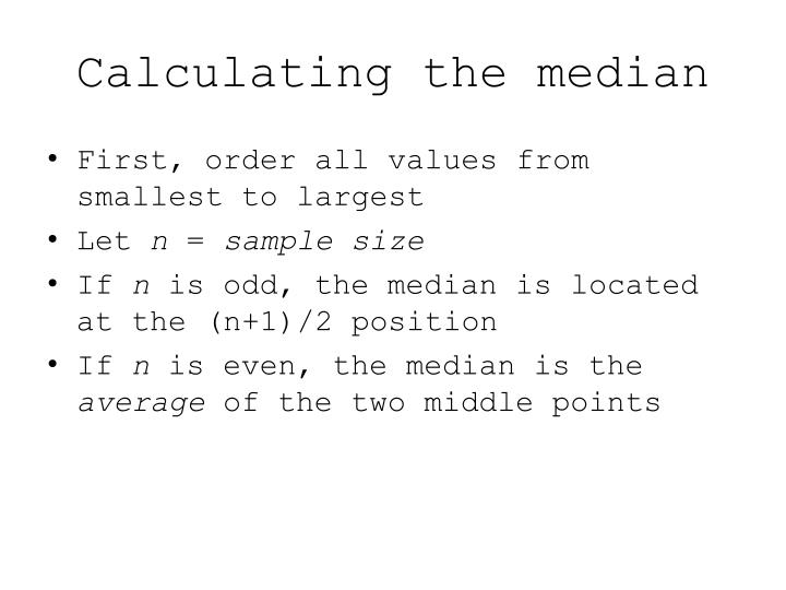 Calculating the median