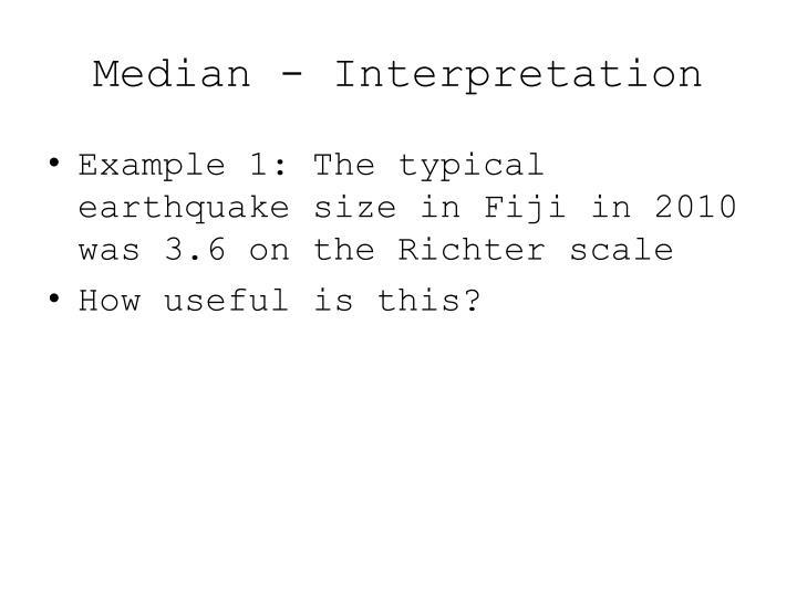 Median - Interpretation