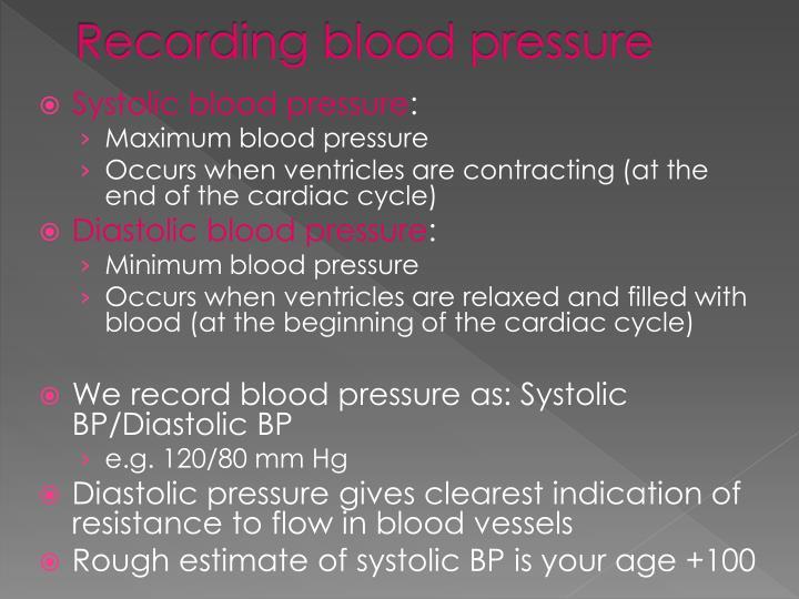 Recording blood pressure