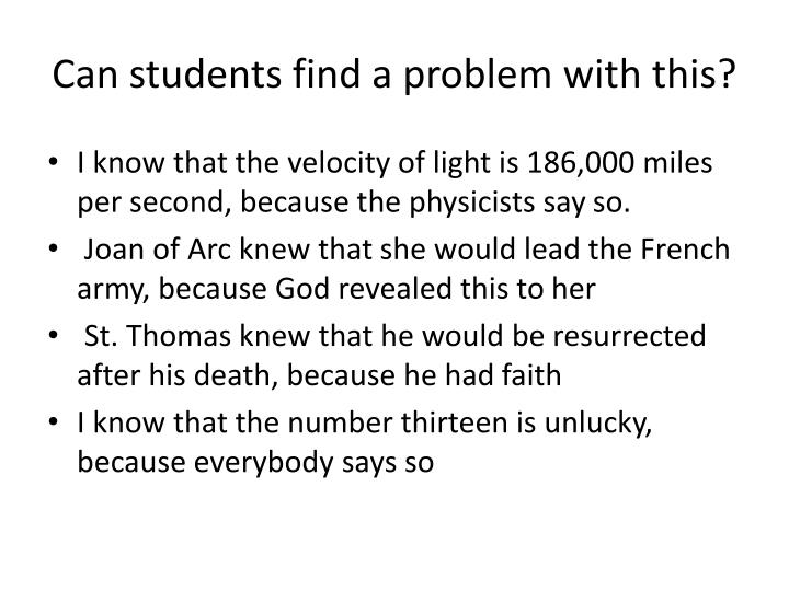 Can students find a problem with this?