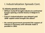 i industrialization spreads cont