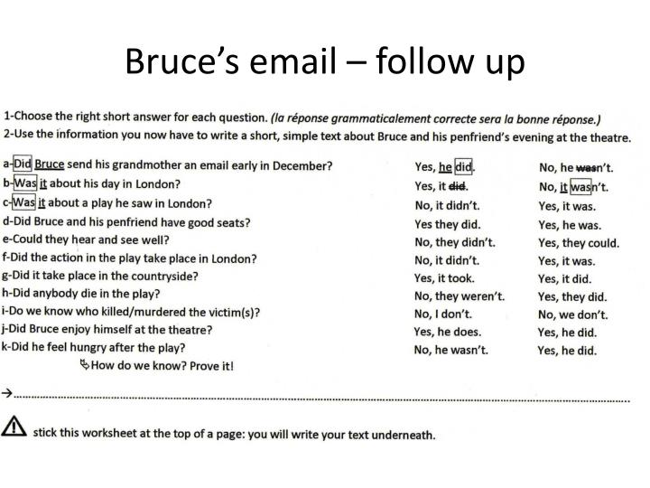 bruce s email follow up