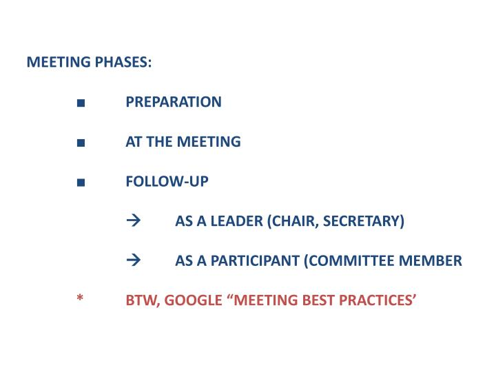 MEETING PHASES: