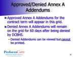 approved denied annex a addendums
