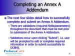 completing an annex a addendum