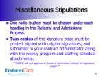 miscellaneous stipulations1