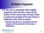 multiple programs