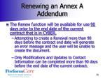 renewing an annex a addendum