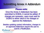 submitting annex a addendum