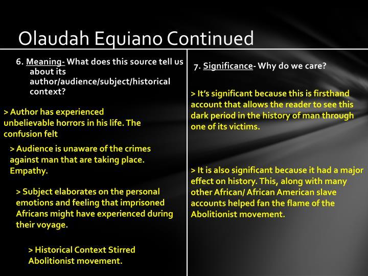 Olaudah equiano continued