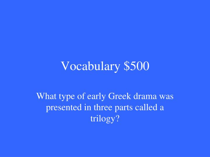Vocabulary $500