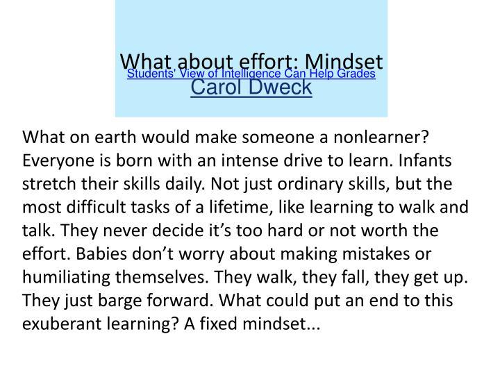 What about effort: Mindset