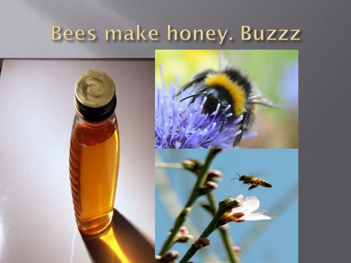 Bees make honey.