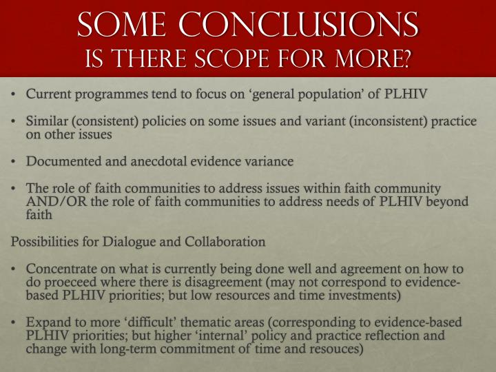 Some Conclusions