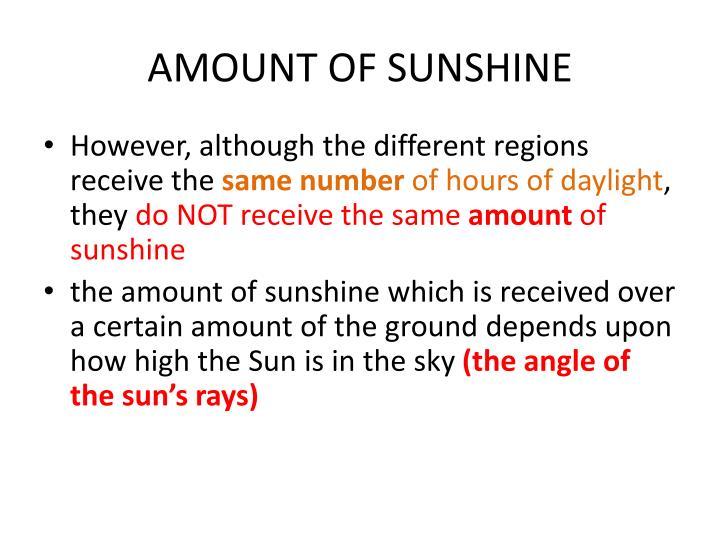 AMOUNT OF SUNSHINE