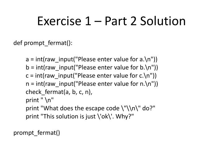Exercise 1 – Part 2 Solution
