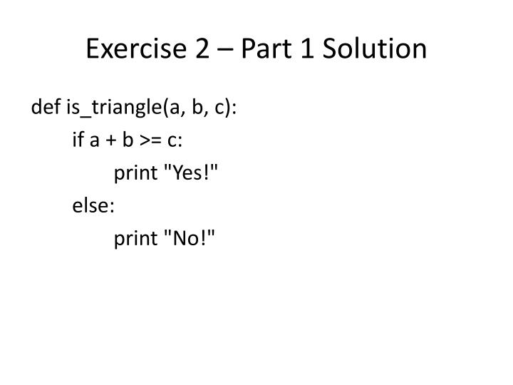 Exercise 2 – Part 1 Solution
