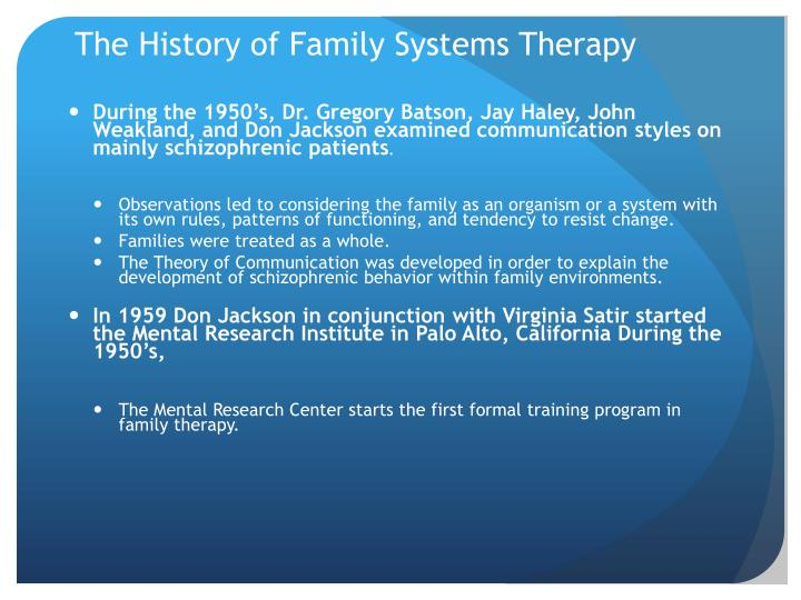 The History of Family Systems Therapy