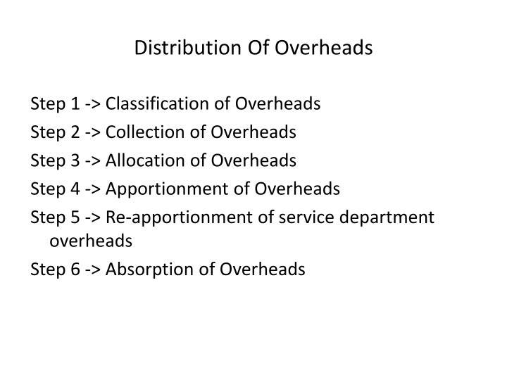 Distribution Of Overheads