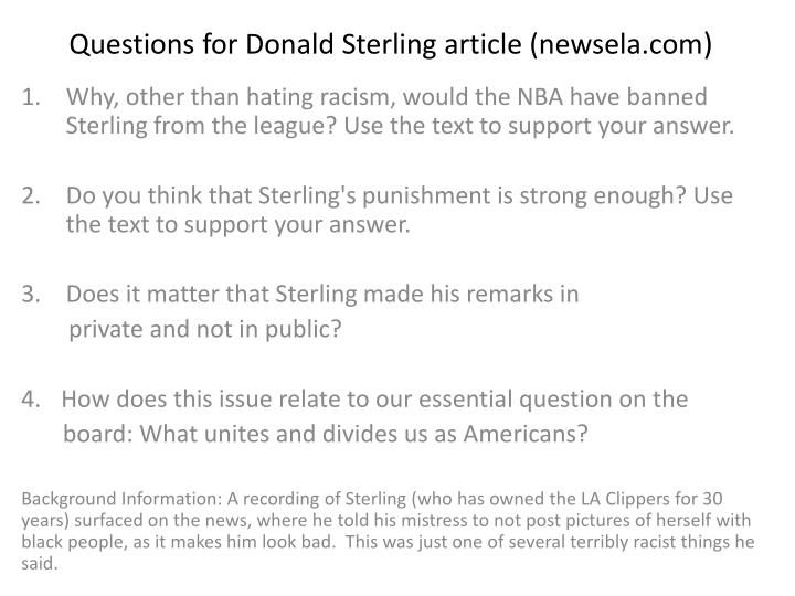 Questions for donald sterling article newsela com