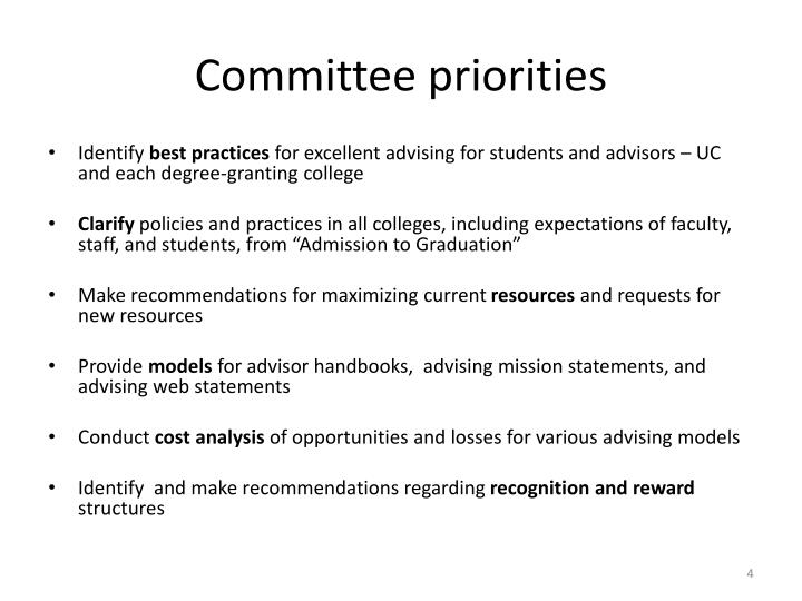 Committee priorities