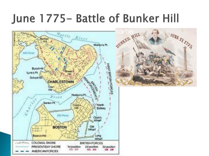June 1775- Battle of Bunker Hill