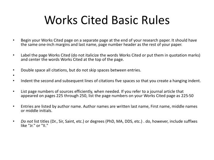 works cited pages