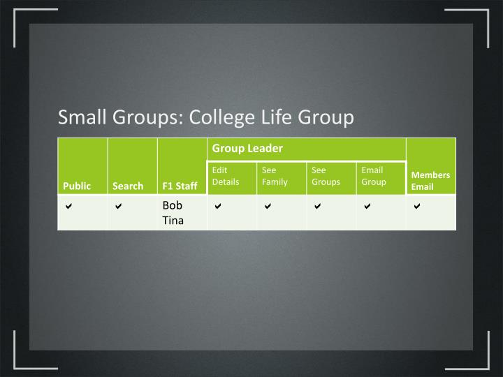 Small Groups: College Life Group