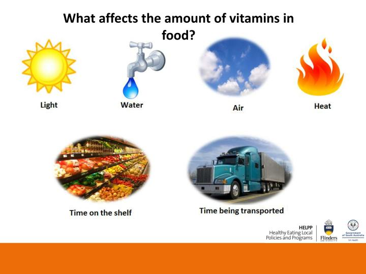 What affects the amount of vitamins in food?