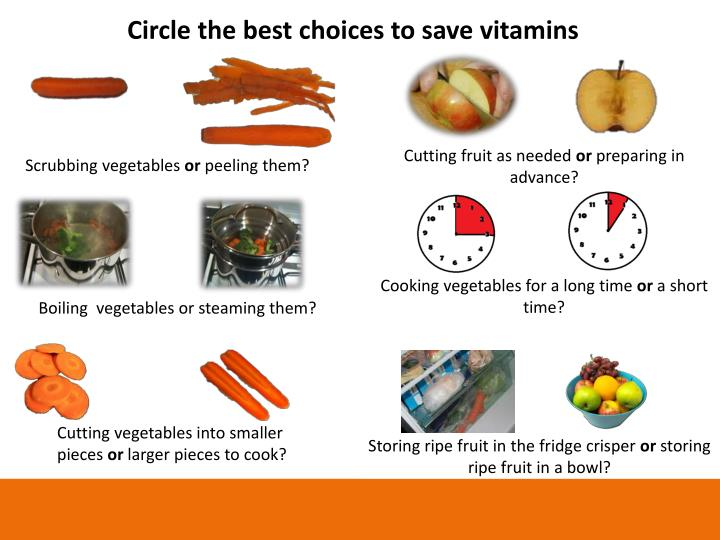 Circle the best choices to save vitamins