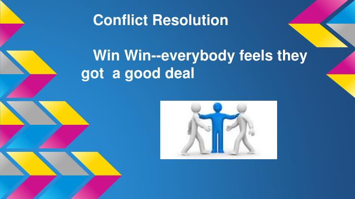 win win approach conflict resolution System approach to win-win resolution of this approach is complimentary to and compatible with most of known conflict resolution techniques: this approach is.