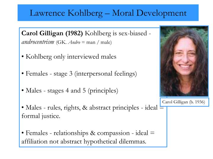 kohlberg essays moral development The biological perspective on moral development assumes that morality is grounded in the genetic heritage of our species, perhaps through prewired emotional reactions.