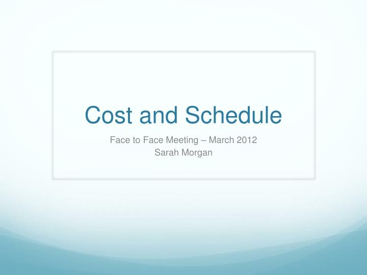cost and schedule n.