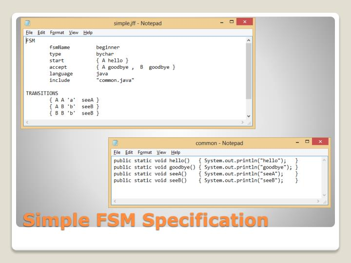Simple FSM Specification