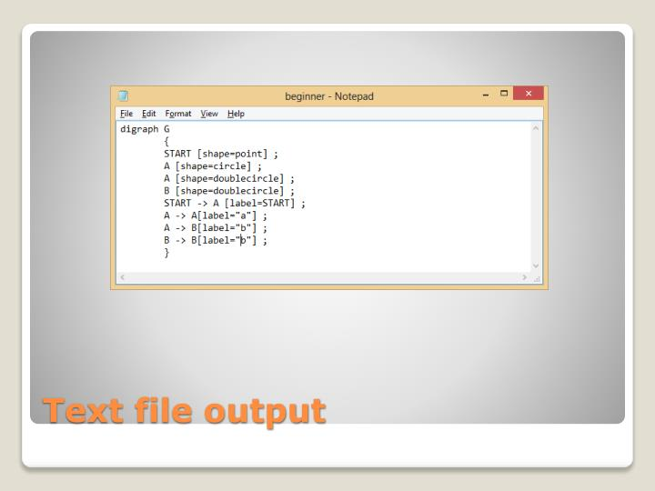 Text file output