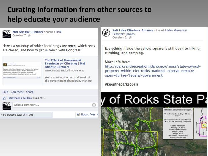 Curating information from other sources to help educate your audience