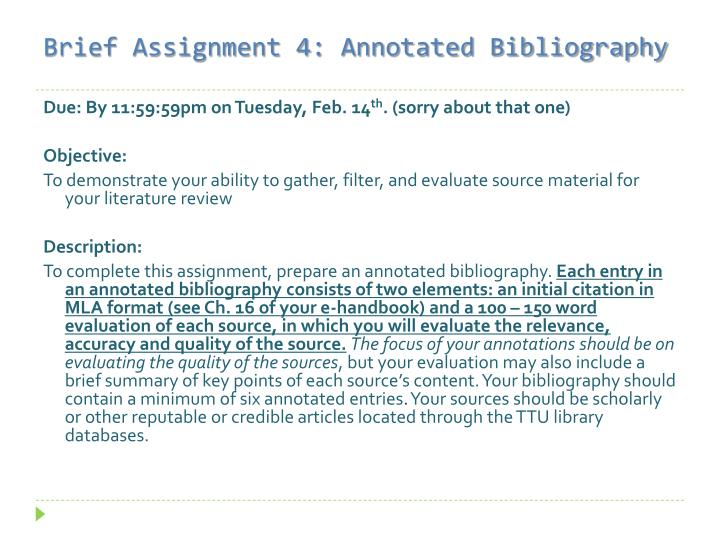 Brief Assignment 4: Annotated Bibliography
