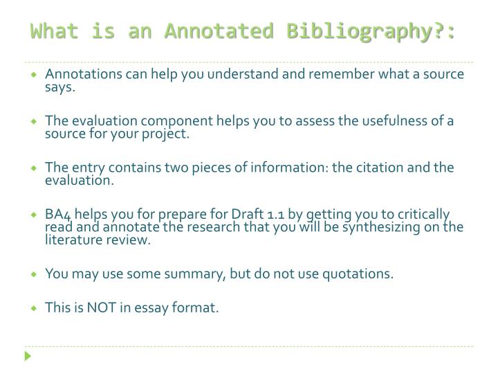 What is an Annotated Bibliography?: