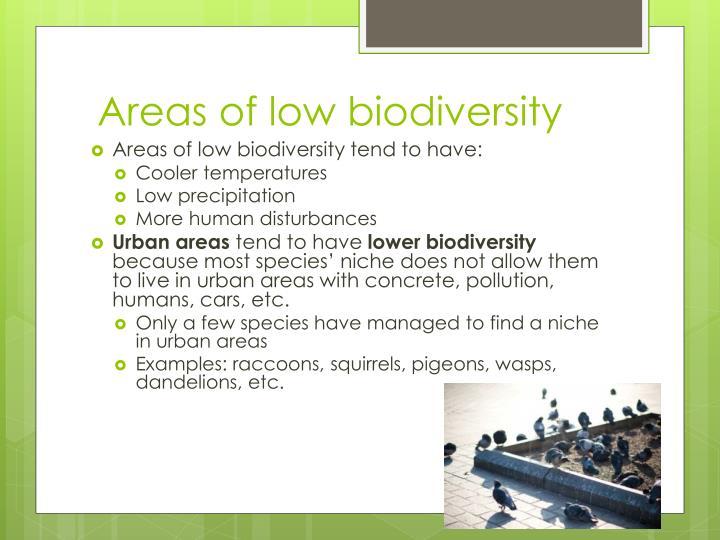 Areas of low biodiversity