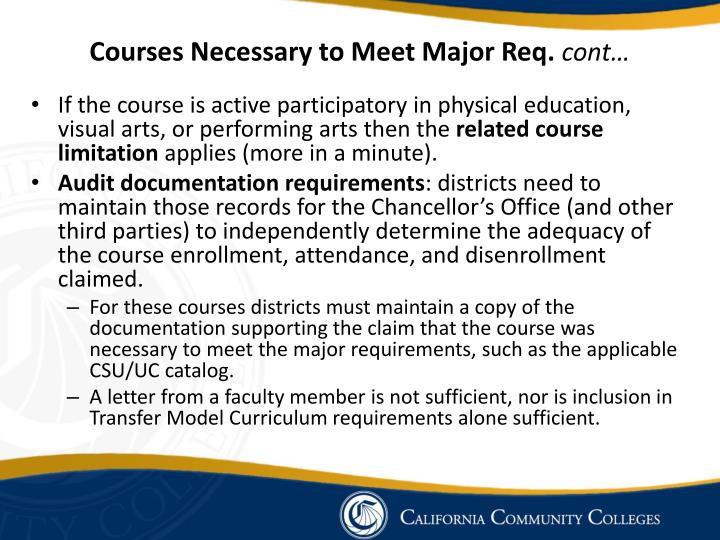 Courses Necessary to Meet Major Req.