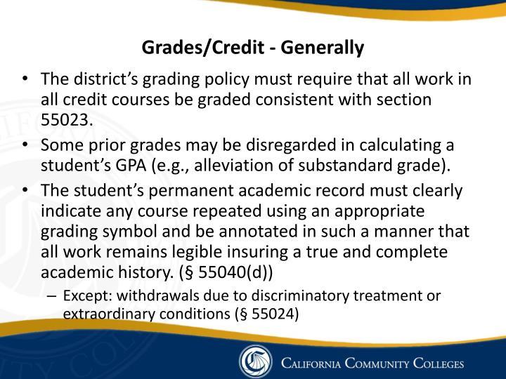 Grades/Credit - Generally