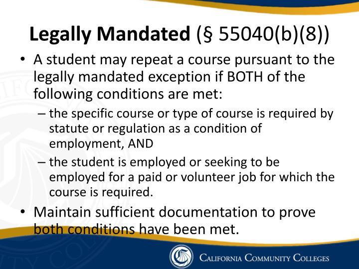 Legally Mandated