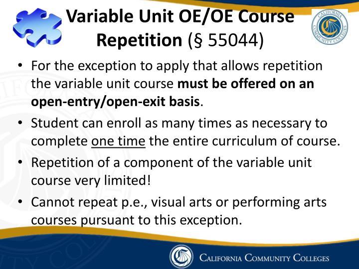 Variable Unit OE/OE Course