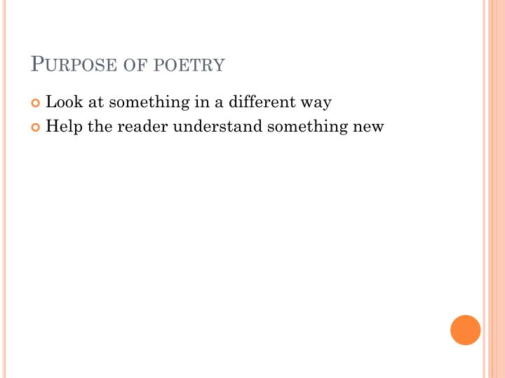 Purpose of poetry