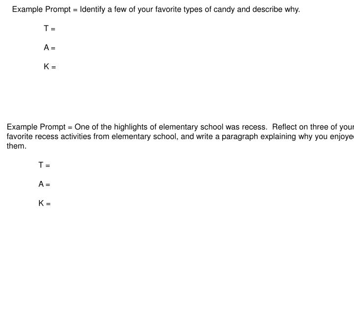 Example Prompt = Identify a few of your favorite types of candy and describe why.